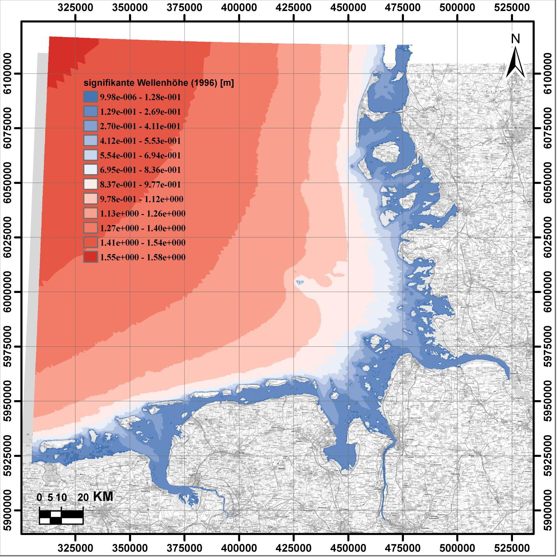 Beispielhafte Darstellung der mittleren signifikanten Wellenhöhefür das Jahr 1996