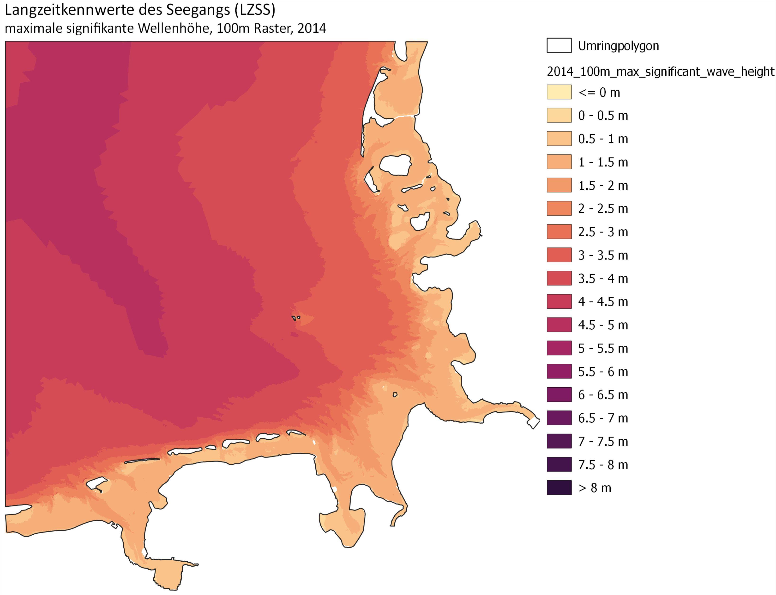 Beispiel: maximale signifikante Wellenhöhe für das Jahr 2014