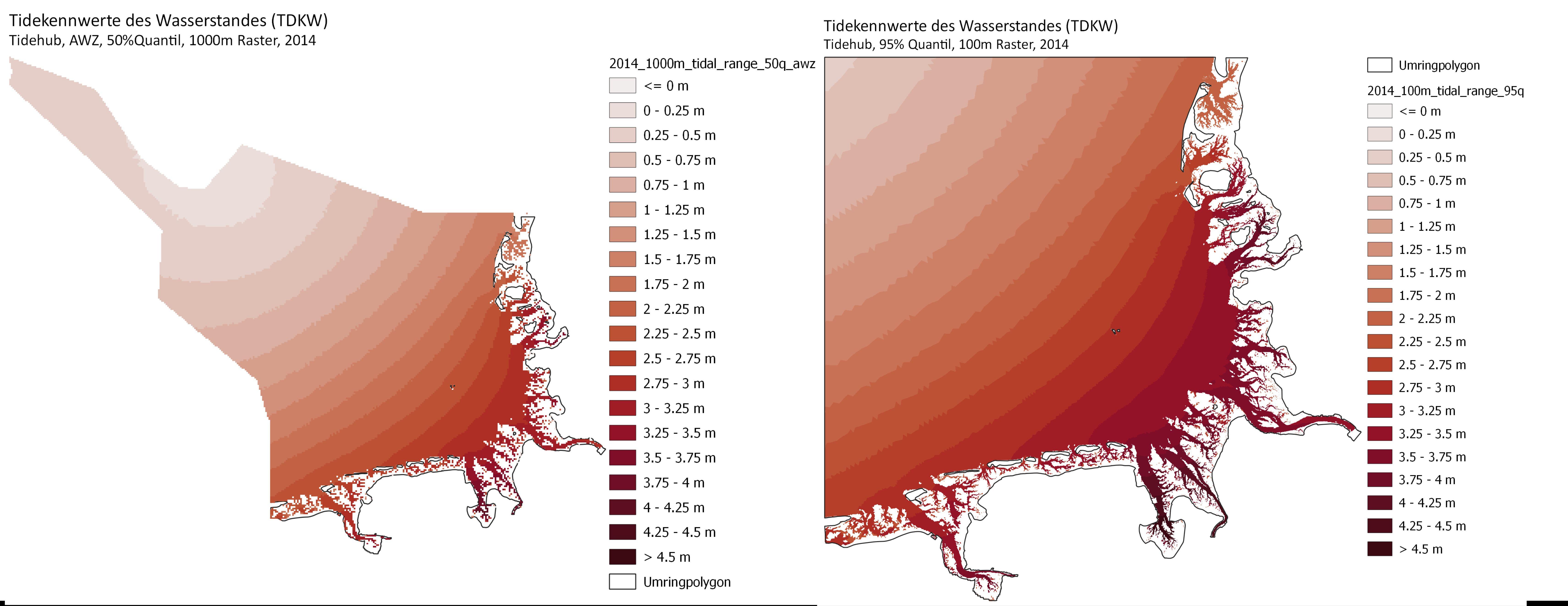 Beispiel: Tidehub für die Ausschließliche Wirtschaftszone (Quantil 50%) und die Deutsche Bucht (Quantil 95%), Jahr 2014