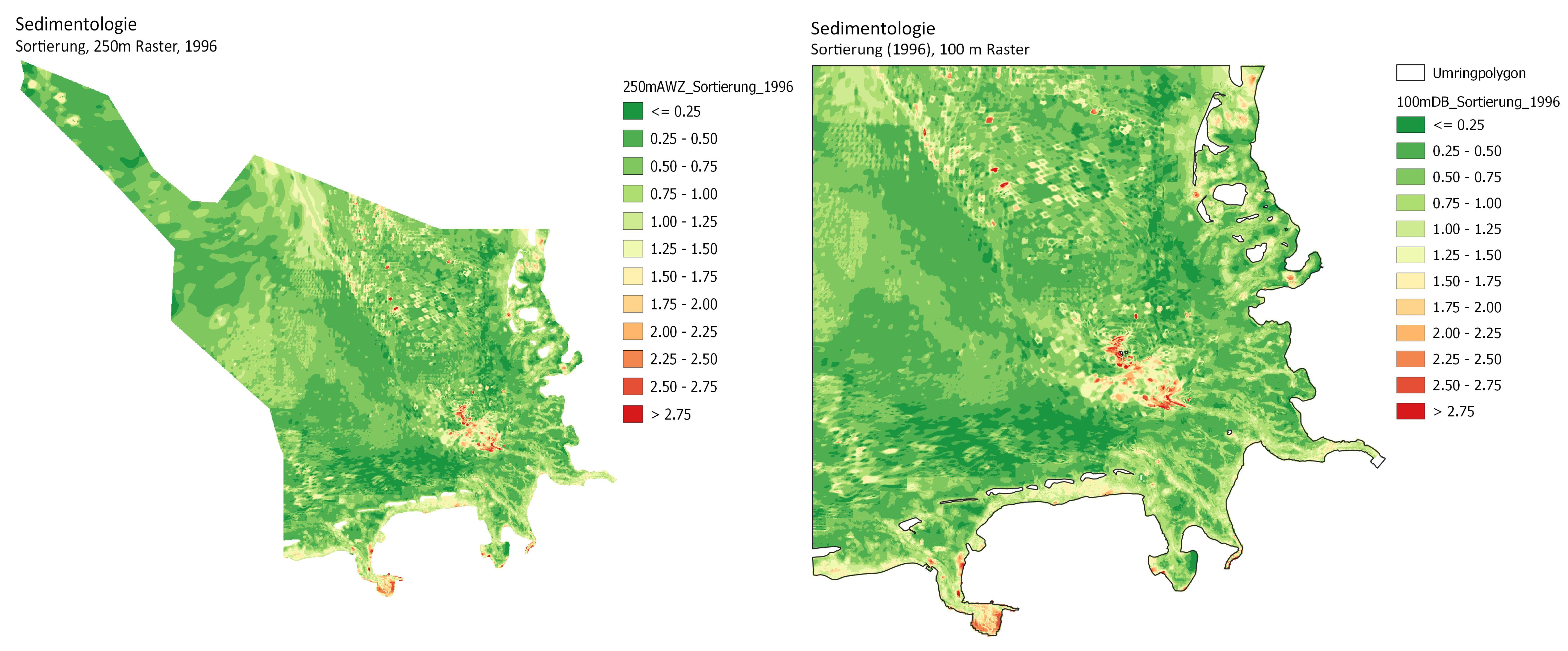 Beispiel: Sortierung für die Auschließliche Wirtschaftszone (AWZ) und die Deutsche Bucht (DB) für das Jahr 1996.